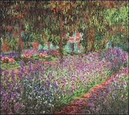 Conservée au musée d'Orsay à Paris, ''Le Jardin de Giverny'' est une huile sur toile peinte en 1900. Nous montrant des rangées d'iris de diverses nuances de violet et de rose placées en diagonale du plan de l'image, ces fleurs sont situées sous des arbres et sont baignées de lumière qui change les nuances de leurs couleurs. Quel impressionniste est l'auteur de cette œuvre ?