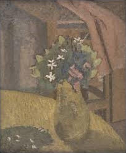 ''Vase de fleurs'' est l'œuvre d'une peintre et modèle galloise (1876-1939), peinte en 1910. Elle représente un vase de fleurs roses et blanches posé sur une table de bois où quelques pétales blancs sont tombés. Sur ce tableau réalisé sans doute chez elle, on aperçoit en arrière-plan une autre table où repose un habit rose plié. Quel est le nom de cet artiste ?
