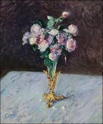 Pourriez-vous me citer le nom de ce peintre impressionniste qui réalisa, en 1883, cette huile sur toile (H : 0,61 m x L : 0,50 m) intitulée ''Bouquet de roses dans un vase de cristal'' ?