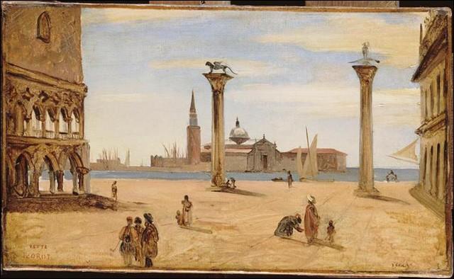 Qui ne connait cette vue magnifique ? La colonne de gauche est surmontée du lion ailé, symbole de saint Marc l'évangéliste, protecteur de la ville. Mais celle de droite, par quel saint est-elle surmonté ?