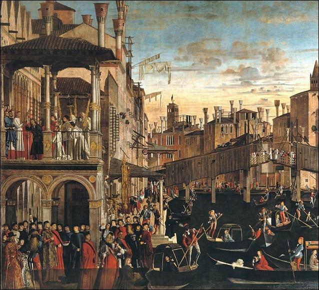 Sur le pont Rialto, vous décidez de ne pas quitter Venise sans avoir vu cet extraordinaire cycle de tableaux autour des miracles de la relique de la Vraie Croix. Mais où se trouve-t-il ?