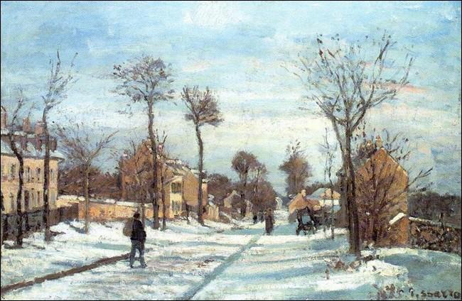 """""""La Route par la neige, Louveciennes"""", vers 1870, est de l'un des fondateurs du mouvement impressionniste. La première maison à gauche est celle de l'artiste.De qui est cette œuvre exposée actuellement au Musée Marmottan Monet, Paris ?"""