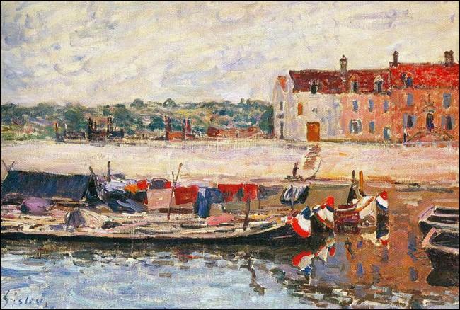 """""""Chalands à St-Mammès"""", vers 1885, d'Alfred Sisley.A quel courant artistique Alfred Sisley en est-il resté ?"""