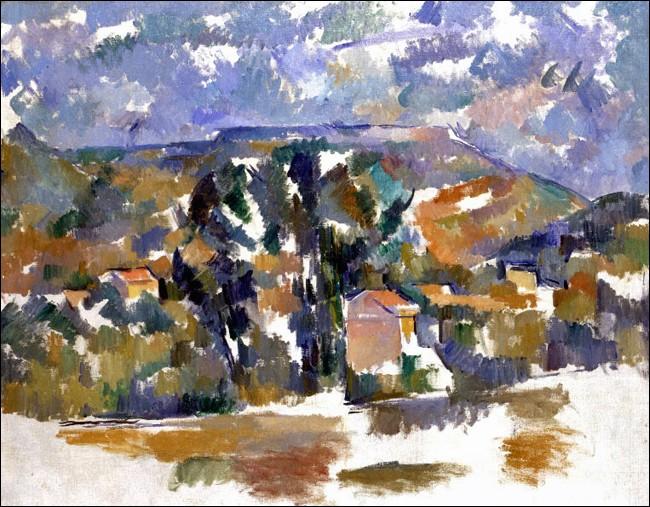 """Jusqu'alors, seule une toile entièrement recouverte de peinture était considéree comme une œuvre d'art achevée. En incluant des espaces vides à """"Mont de Cengle"""", Paul Cézanne rompt avec cette tradition. De quand cette toile (exposé à Martigny, Fondation Gianadda, du 16.6. au 19.11.17) date-t-elle ?"""