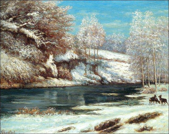 """Gustave Courbet est un observateur pénétrant et attentif de la forêt et de son gibier. Sa toile """"Paysage d'hiver, biches et chevreuil près d'une rivière"""", peinte vers 1866, en témoigne. Mais pouvez-vous situer la période de sa vie ?"""