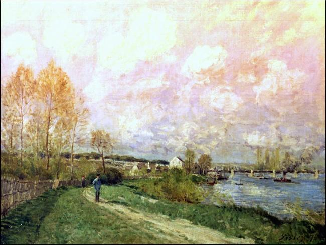 """Cet impressionniste anglais a représenté à maintes fois les paysages enchanteurs, vaporeux de la Seine à Bougival. Signe de marque, le ciel occupe souvent une place essentielle dans ses toiles. """"Un été à Bougival"""" date de 1876. Vous en ai-je trop dit ?"""