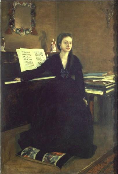 """Sa maxime : """"La peinture, c'est facile quand vous ne savez pas comment faire ; quand vous le savez, c'est très difficile"""". Son portrait : """"Mme Camus à son piano"""" (1869)"""