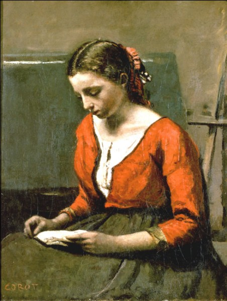 """Sa maxime : """"Le tout, c'est d'avoir du génie à vingt ans et du talent à quatre-vingts.""""Son portrait : """"La liseuse"""" (1845/50)"""