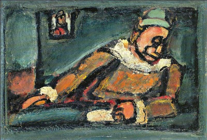 """Sa maxime : """"La peinture n'est pour moi qu'un moyen d'oublier la vie. Un cri dans la nuit. Un sanglot raté. Un rire qui s'étrangle.""""Sa scène de genre : """"Clown"""" (1937)"""