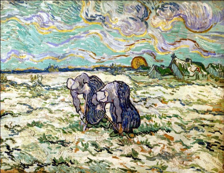 """Sa maxime : """"Avant de commencer à peindre, je dessine et étudie la perspective, le temps qu'il faut pour composer un sujet que je vois."""" Sa scène de genre : """"Les Sarcleuses"""" (1889)"""