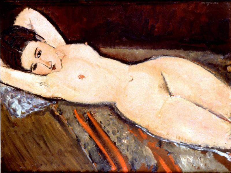 """Sa maxime : """"Le bonheur est un ange au visage grave.""""Sa scène de genre : """"Nu couché"""" (1916)"""