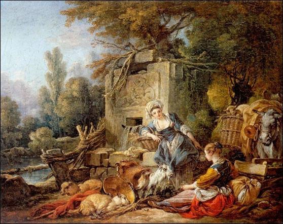 """En l'absence de maxime, la parole est à Denis Diderot : """"Son élégance, sa mignardise, ses carnations fardées, […] doivent captiver les petits-maîtres, les petites femmes, les gens du monde, la foule de ceux qui sont étrangers au vrai goût, à la vérité, à la sévérité de l'art.""""Sa scène de genre : """"Repos à la fontaine"""" (1765)"""