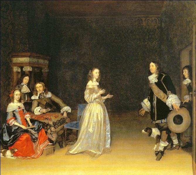 """Sa maxime : """"Être exposé au Louvre"""" (attr.)Sa scène de genre : """"La visite"""" (1660 c.)"""