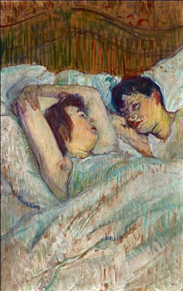 """Sa maxime : """"J'aimerais trouver une femme avec un amant plus laid que moi.""""Sa scène de genre : """"Au lit"""" (1892)"""