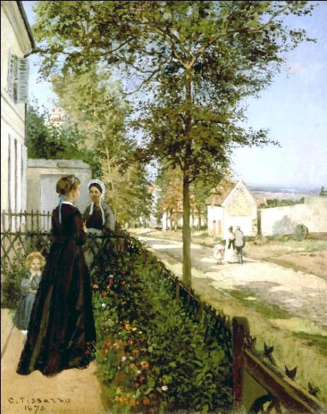 """Sa maxime : """"Peignez généreusement et sans hésitation pour garder la fraîcheur de la première impression. Ne vous laissez pas intimider par la nature, au risque d'être déçu du résultat.""""Sa scène de genre : """"La conversation (route de Louveciennes à Versailles)"""" (1870)"""