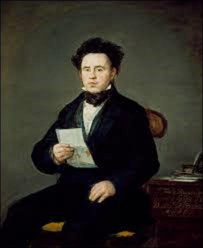"""Réalisé un an avant sa mort, en 1827, ce tableau intitulé """"Portrait de Juan Bautista Muguiro"""" représente un ami de l'artiste, commerçant, banquier et homme politique espagnol, né en 1786 et dont les circonstances de la mort, la date et le lieu n'ont jamais été élucidées, ni connues. Quel peintre préromantique a peint son copain ?"""