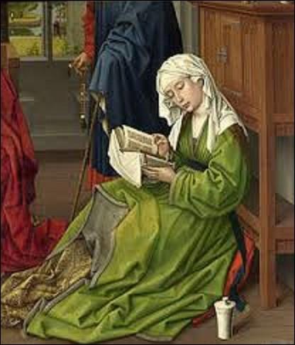 """""""Marie-Madeleine lisant"""" est l'un des trois fragments connus d'un important retable peint par un artiste de mouvement primitif flamand réalisé entre 1435 et 1438. Exposé depuis 1860 à la National Gallery de Londres, qui a peint ce chef-d'oeuvre ?"""