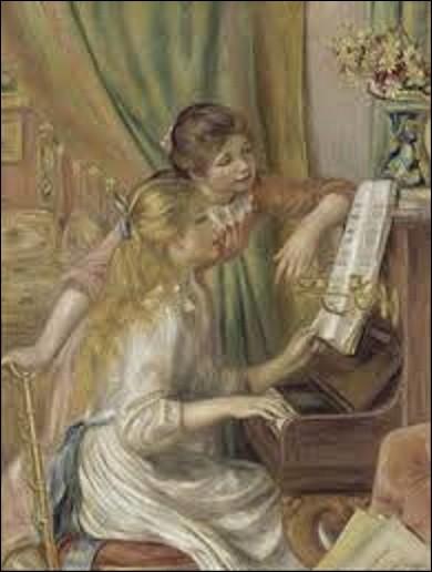 """Nous commençons aujourd'hui ce quiz par cette toile réalisée en 1892, intitulée """"Jeunes filles au piano"""". Ce tableau représente deux adolescentes dont l'une joue de cet instrument. Elles regardent et lisent en même temps une partition de musique. Quel peintre impressionniste est l'auteur de ce chef-d'oeuvre ?"""