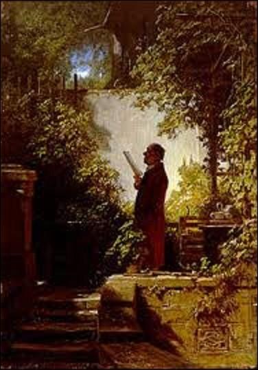 """""""Le Lecteur de journal dans le jardin familial"""" appelé aussi """"La Lecture du matin"""" est une peinture d'un peintre et poète allemand (1808-1885) de mouvement romantisme tardif, peinte entre 1845 et 1858. Actuellement exposée au Musée Pfalzgalerie de Kaiserslautern, quel est le nom de cet artiste ?"""