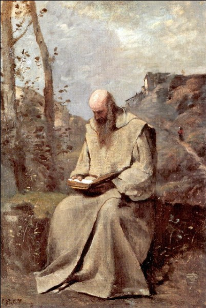 """""""Moine assis, lisant"""" (vers 1865)L'image du moine se répète dans l'œuvre de cet artiste, lui-même menant une sorte d'existence monastique. Le moine de la collection E.G. Bührle est considéré comme le point culminant de la série, ayant été réalisé ultérieurement et sans modèle. """"Servir son art tel un pèlerin"""", l'avez-vous reconnu ?"""
