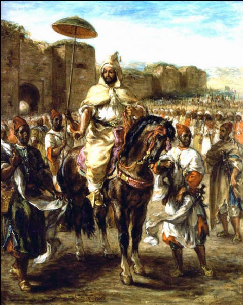 """""""Muley-Abd-el-Rahman"""" (1862)L'artiste accompagne, en 1832, la mission au Maroc de l'émissaire de Louis Philippe. Il peint par la suite une toile monumentale du Sultan, puis trois répliques. Celle de la collection E.G. Bührle est peinte en 1862, une année avant sa mort et montre à quel point ses souvenirs sont encore intacts. Qui est cet artiste ?"""