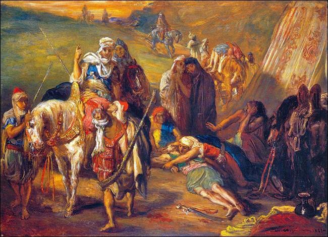"""""""Retour de blessés"""" (1853)Né aux Grandes Antilles, il commence sa carrière artistique dans l'atelier d'Ingres. Un tournant vers Delacroix, un séjour à Alger, et peut-être son origine, le prédestinent à l'Orientalisme. Les combats pour la conquête d'Alger lui procurent des sujets. Quel est son nom ?"""