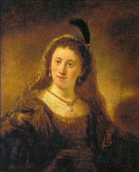 """""""La Dame en costume oriental"""" (1636 ?)Govaert Flinck, un élève de Rembrandt, a réalisé cette étude qui s'intéresse à certaines spécificités (caractère, physionomie, costume). Comme dans le tableau précédent, il ne s'agit pas d'un portrait, mais on a longtemps vu dans le modèle Saskia van Uylenburgh, la première épouse du Maître. Mais comment ce dernier s'appelle-t-il au juste ?"""