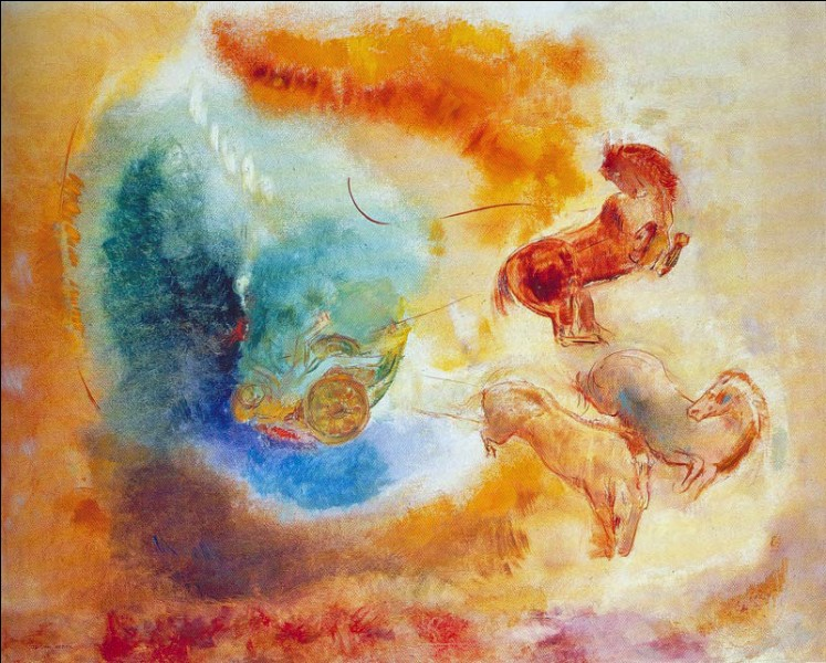"""""""La Chute de Phaeton"""" (1910)Participant à la 8e exposition des impressionnistes et illustre artiste symboliste, son art explore l'aspect ésotérique de l'âme humaine. Ici, le char du soleil que Phaeton, fils d'Hélios, a emprunté, est touché par une foudre de Zeus. Qui est cet artiste ?"""