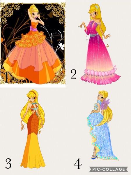 """De quelle couleur est la robe de Stella dans l'épisode 1 """"Le bal de la princesse"""" de la saison 3 ?"""