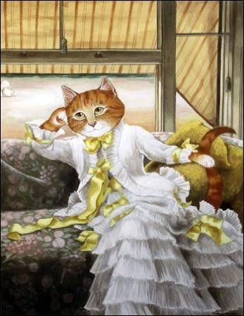 Sur la toile de qui, la petite chatte s'est-elle installée ?
