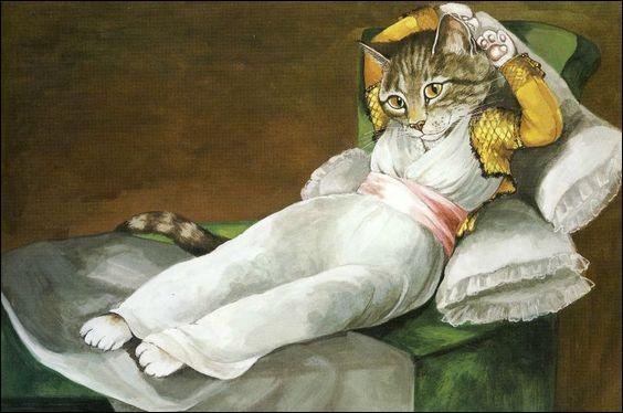 Cette jolie minette a pris place sur une toile célèbre de :