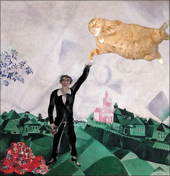 Sur la toile de qui, s'invite ce chat qui remplace une femme ?