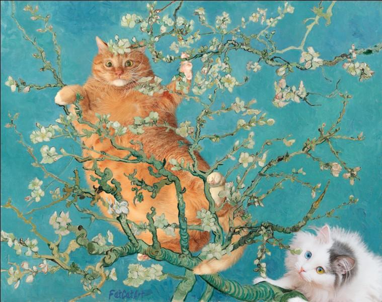 Gros Minou se mélange aux branches d'amandier peintes par :