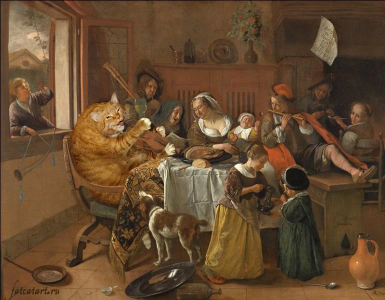 Cet énorme chat s'est invité à la table de la famille Merry ! De qui parodie-t-on l'oeuvre ?