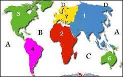 Quel continent est marqué par le chiffre 2 ?