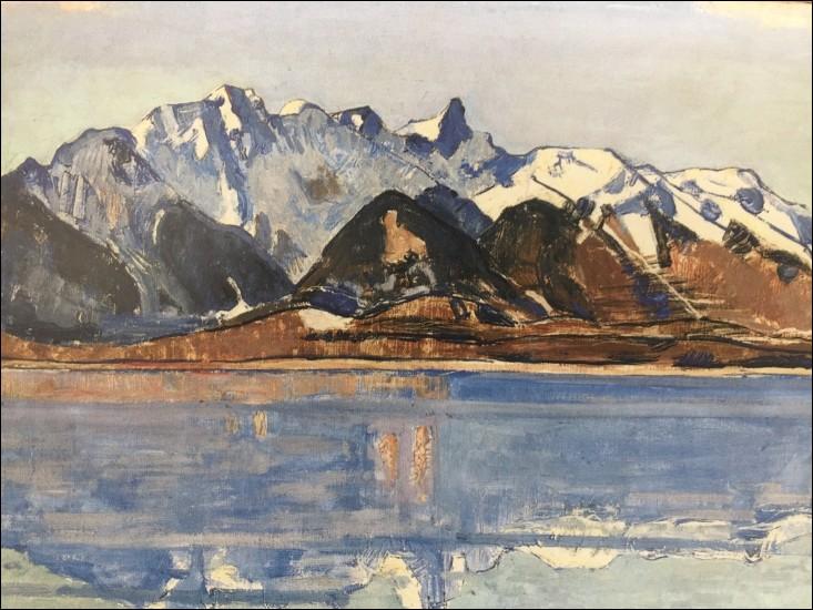 """""""Le Lac de Thoune et la chaîne du Stockhorn enneigée"""" (1913)"""