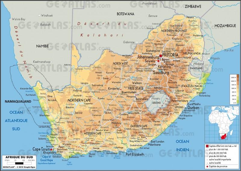 Partie 2 : géographie : quelle est la superficie totale de l'Afrique-du-Sud ?