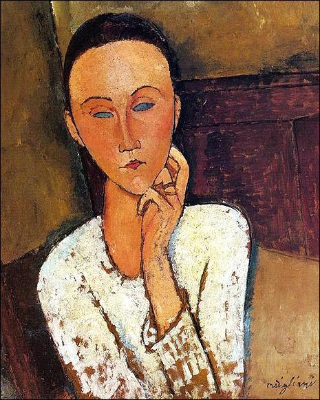 """Amedeo Modigliani """"... avec la main gauche sur sa joue"""" (1918), amie des Zborowski, marchands d'art de l'artiste."""