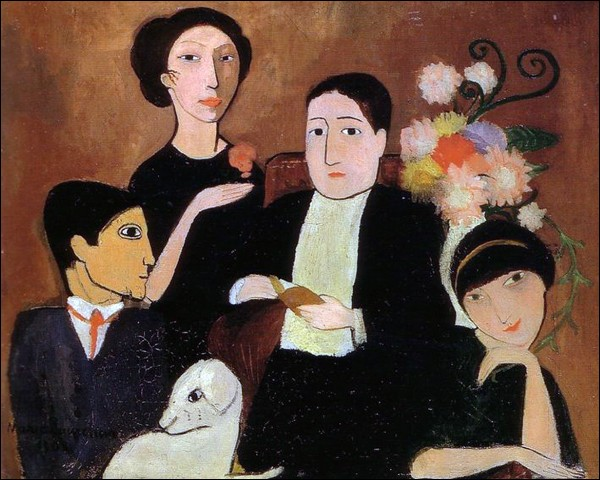 """Marie Laurencin """"Groupe d'artistes"""" (1908), de g. à d. ... / ... / Apollinaire / Fernande Olivier"""