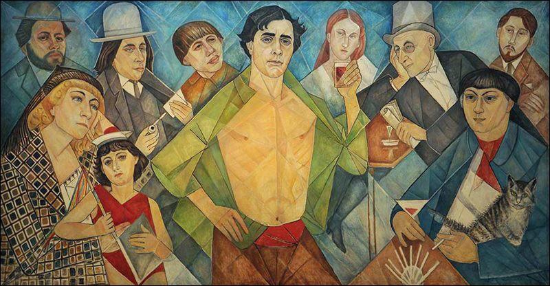 "Marevna, ""Hommage aux amis de Montparnasse"" (1961),de g. à d. Diego Rivera / Marevna / Marika / Ilya Ehrenburg / Chaïm Soutine / ... / Jeanne Hébuterne / ... / Moïse Kisling / Léopold Zborowski"