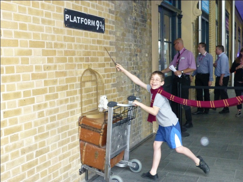"""Dans le film """"Harry Potter à l'école des sorciers"""", à la gare de King's Cross, comment Harry repère-t-il les Weasley ?"""