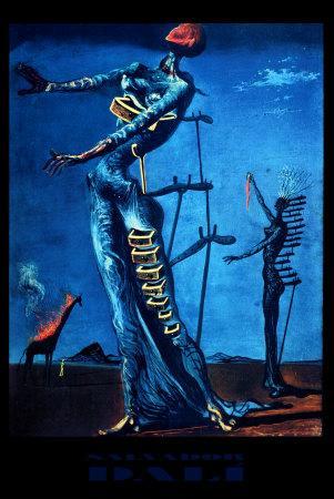 Qui a peint cette toile intitulée 'girafe en feu'  ?