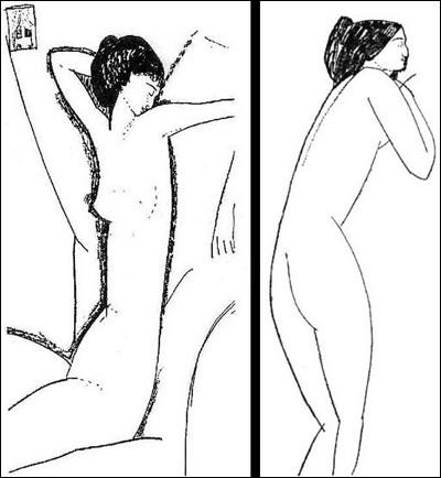 "Amedeo Modigliani ""Esquisse de ..."" (1911). Poétesse russe."