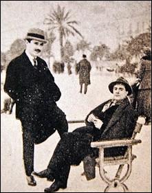 Boulevard des Anglais, Nice, le 15.12.1918, de g. à d. le galeriste ... / l'artiste ...