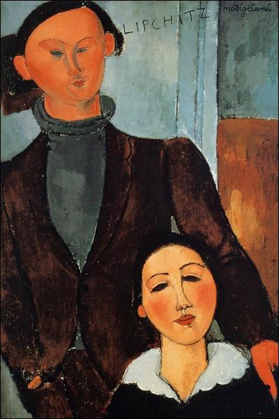 """Amedeo Modigliani """"Jacques et Berthe Lipchitz"""" (1916). Sculpteur polonais. Toile en exposition permanente dans une ville à population d'origine polonaise importante."""