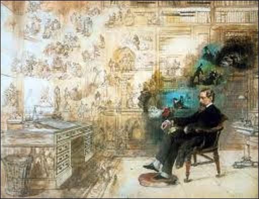 Commencé en 1870 et laissé inachevé par la mort de l'artiste en 1875, ''Le Rêve de Dickens'' est une aquarelle représentant l'écrivain assis dans son bureau, en train de rêver. L'idée de cette toile lui vint en apprenant la mort du romancier le 9 juin 1870 pour lui rendre hommage. Quel peintre aquafortiste et illustrateur victorien a peint ce tableau ?