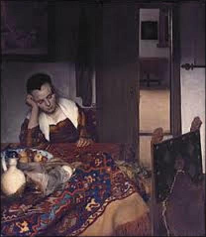 Datant de l'âge d'or de la peinture néerlandaise, de dimension 0,87 m x 0,76 m, cette huile sur toile intitulée ''Une jeune fille assoupie'' a été peinte vers 1657 et est exposée au Metropolitan Museum of Art de New-York. Qui en est l'auteur ?