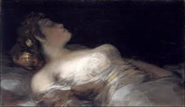 ''El sueño'' (Le Rêve), est une huile sur toile réalisée entre 1790 et 1793 par un peintre préromantique espagnol, suite à une commande du commerçant, politicien et ami de l'artiste Sebastián Martinez y Pérez. Représentant une belle femme de trois quart, dormant tranquillement, la scène inspire une certaine sérénité mais possède également quelque chose d'inquiétant. Qui a réalisé cette œuvre ?