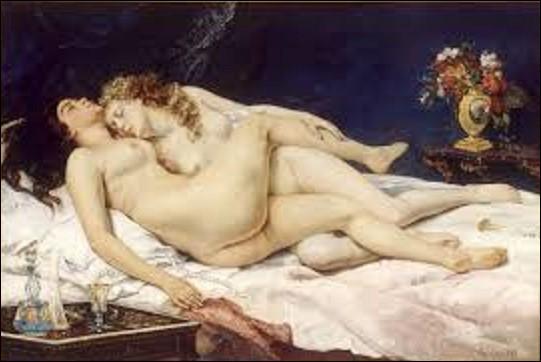 Conservée au Petit Palais de Paris, réalisée en 1866, cette toile appelée ''Le Sommeil'', aussi intitulée ''Les Deux Amies'', ou ''Paresse et Luxure'', représente deux femmes nues, allongées et enlacées sur un lit défait. De dimensions de 1,35 m sur 2 m. Quel peintre réaliste a réalisé ce tableau ?
