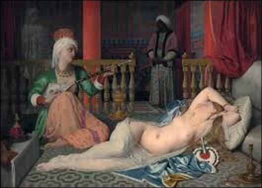 Réalisé en 1839 pour une commande privée de Charles Marcotte d'Argenteuil, grand mécène artistique du XIXe siècle, ''L'Odalisque à l'esclave'' est une toile d'un peintre néo-classique. Lequel ?